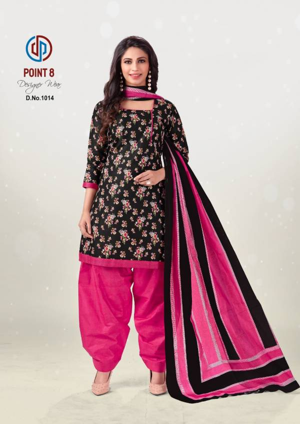 Deeptex Prints Deepex Point 8 Series 1001-1015 Pure Cotton With Printed Full Stitch Readymade Casual Wear Patiyala Suits Collection
