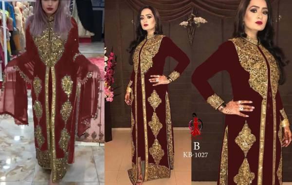 Senhora Dresses KB 1027 Faux Georgette With Koti concept Heavy Embroidery Work Wedding  Wear Designer Suit Collection