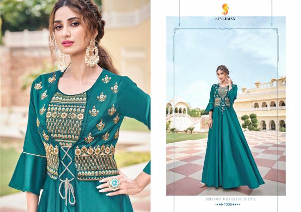 Stylemax Almirah Vol 5 Series 1001-1006 Soft Tapeta Silk With Embroidery Work New Designer Party Wear Gowns Collection
