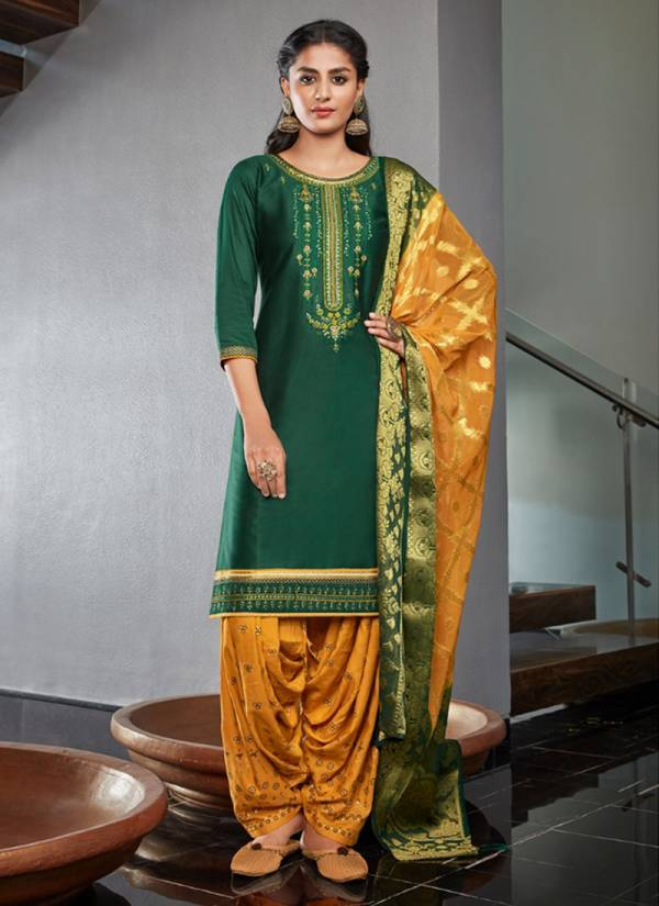 Kalaroop Suvarna By Patiyala Vol 4 Series 12189-12192 Latest Designer Jam Silk Khatli Work Readymade Patiyala Suits Collection