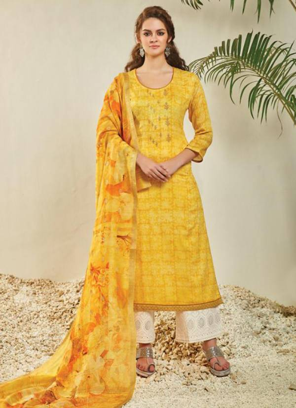 OM Tex Ahana Series 1121-1128 Fine Satin Designer Party Wear Embroidery Work Palazzo Suits Collection