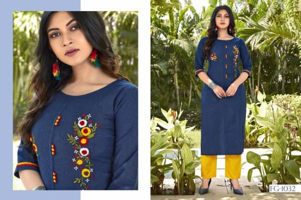 Fashion Galleria Krisha Vol 11 Series FG-1032 - FG-1037 Pure Cotton With Embroidery Hand Work Kurtis With Pants Collection