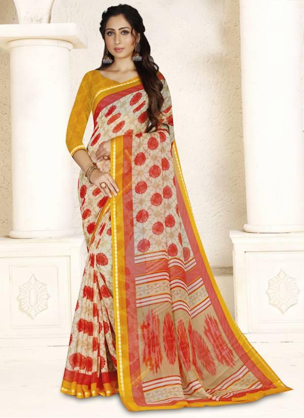Ishika Chiffon Beauty -2 Series 1021-1026 Chiffon Printed With Zari Border Casual Wear Sarees Collection