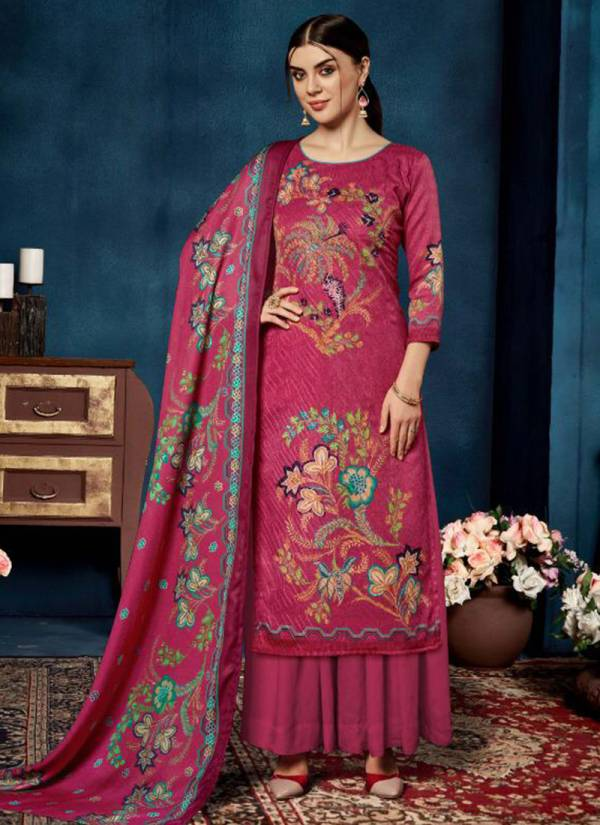 Belliza Gulshan Series 469-001 - 469-010 Pure Pashmina Digital Print With Fancy Aari Embroidery Work Casual Wear Suits Collection