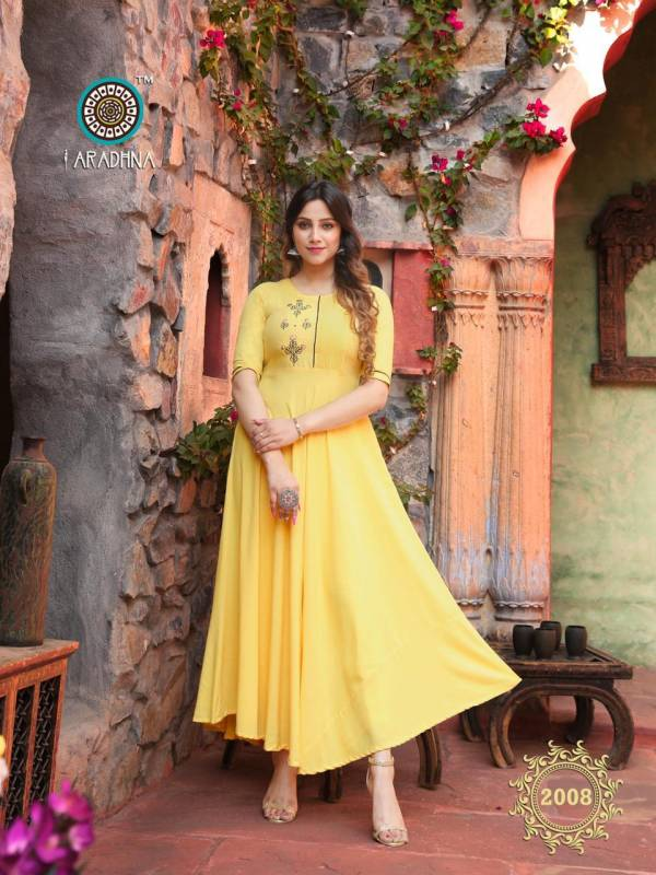 Aradhna Fashion Fabulous Vol 2 Heavy Rayon With Embroidery Work Fancy Kurtis Collection