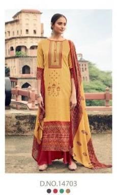 Tanishk Fashion Kazo Kashmiri Series 14701-14708 Pure Jam Silk Heavy Embroidery Work New Designer Palazzo Suits Collection