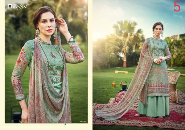 Zulfat Designer Hasrat Pure Jam Cotton Digital Style Print With Heavy Fancy Embroidery Work Regular Wear Designer Palazzo Suits Collection