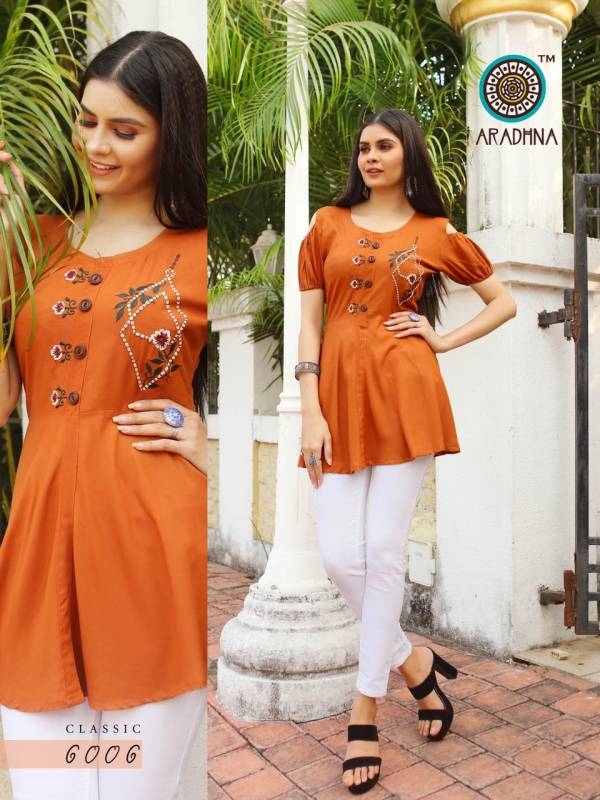Aradhna Classic Vol 6 Series 6001-6010 Heavy Rayon With Embroidery Work & Manual Work Designer Daily Wear Tops Collection
