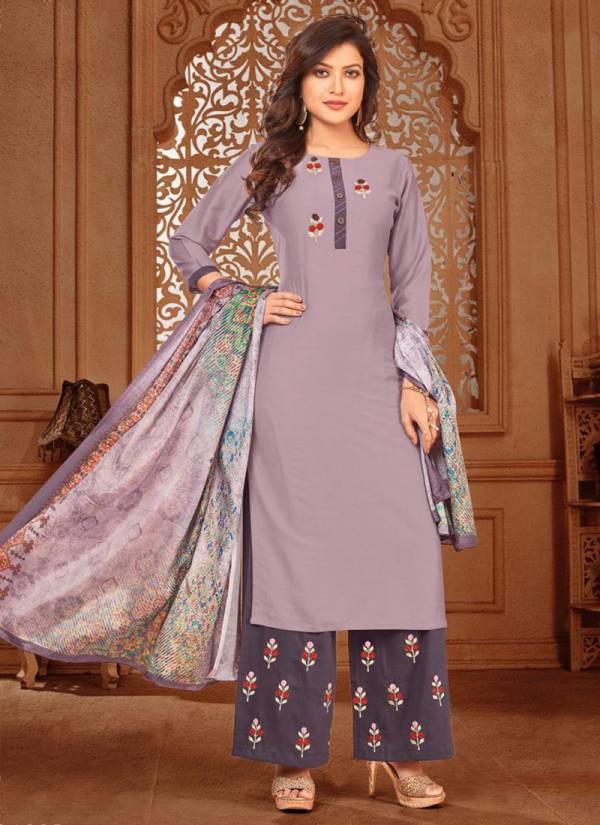Rijiya Trendz Surili Series D1001-D1005 Chinon Slub With Hand & Embroidery Work New Designer Daily Wear Readymade Salwar Suits Collection