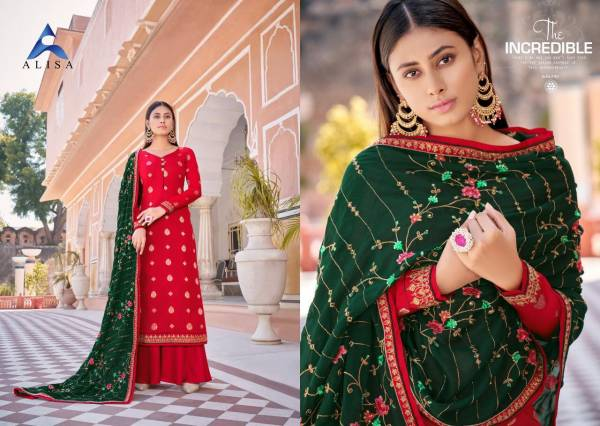 Alisa Raas Vol 2 Series 5701-5706 Heavy Silk Jacquard Embroidery With Additional Diamond Work Latest Palazzo Suits Collection
