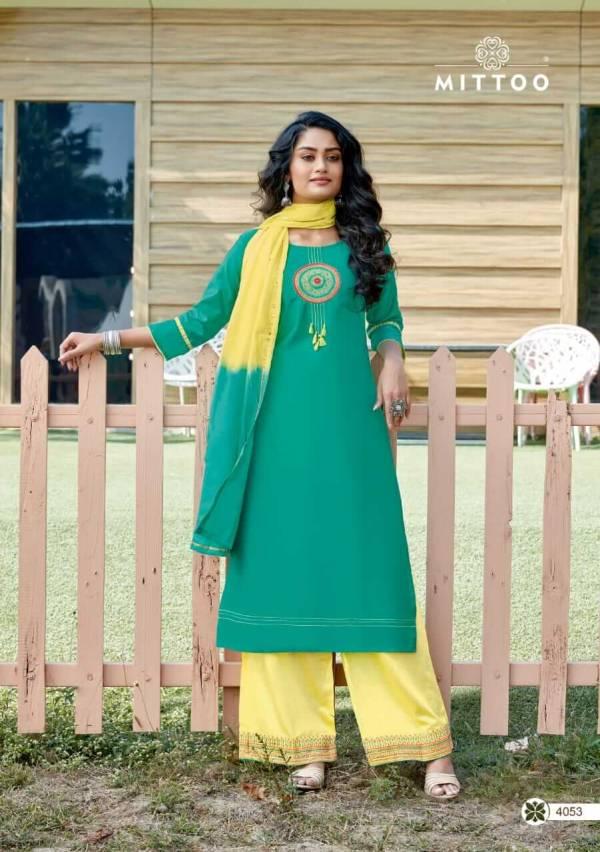 Mittoo Manohari Vol 2 Banarasi Viscose Stylish Readymade Palazzo Suits Collection