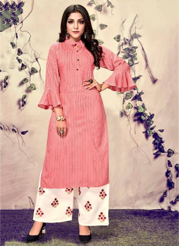 Channel 9 Seltos Series 301-304 Fancy Rayon With Embroidery Work Long Kurtis With Palazzo Collection
