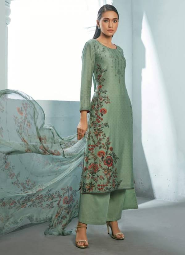 Om Tex Basil Series 1051-1056 Enshi Silk Digital Printed With Fancy Hand Work Daily Wear Exclusive Salwar Suits Collection
