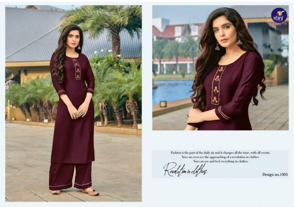 Vitara Fashion Platinum Series 1001-1006 Heavy Chinnon With Hand Work Latest Designer Kurtis With Palazzo Collection