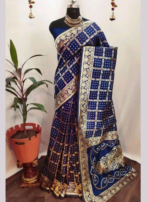 Naree Creation Bandhani Cotton Silk With Printed Traditional Wear Saree Collections