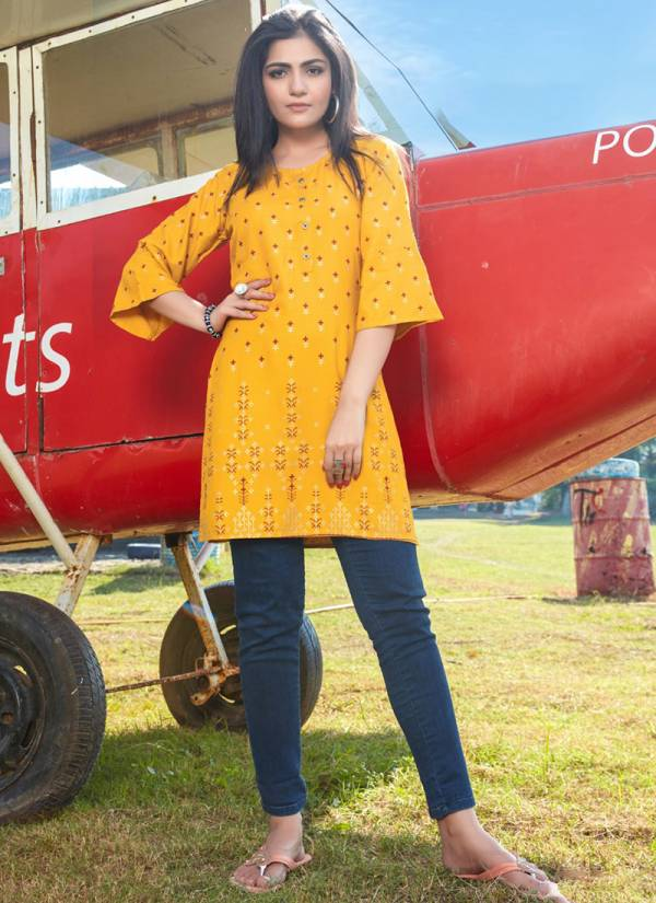 Rangjyot Forever Vol 1 Series 101-110 Rayon Exclusive Gold Printed Casual Look Office Wear Kurtis Collection