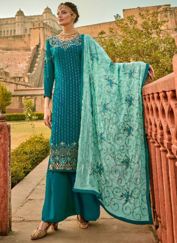 Sara Trendz Zara Real Faux Georgette With designer Embroidery Work Ramzan Eid Special Palazzo Suits Collection