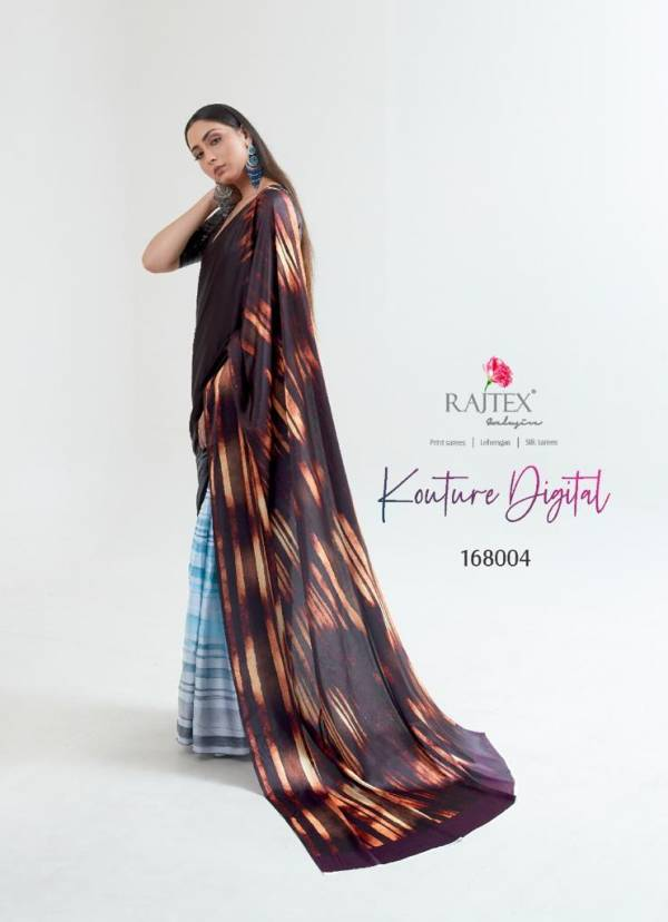 Rajtex Kouture Japan Satin Carpe Fancy Digital Printed Work Designer Sarees Collection