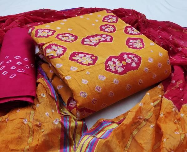 Nakshatra Fashion Studio Bandani Dress Materials Vol-10 Series 30-34 Satin Cotton Handicrafts Bandhej  Dress Material Suit Collection