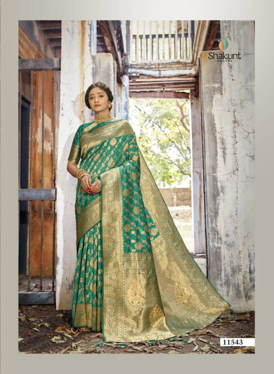 Shakunt  SKS 29 Silk Heavy Embroidery Work With Rich Pallu Treading Look Designer Sarees Collection