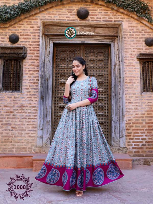 Aradhna Fashion Bandhani Vol 1 Heavy Cotton With Manual Work Gown Style Long Kurti Collection