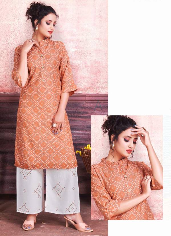 Rung Bliss Vol 2 Series 1001-1008 Rayon Heavy Gold Print Designer Kurtis With Palazzo Collection