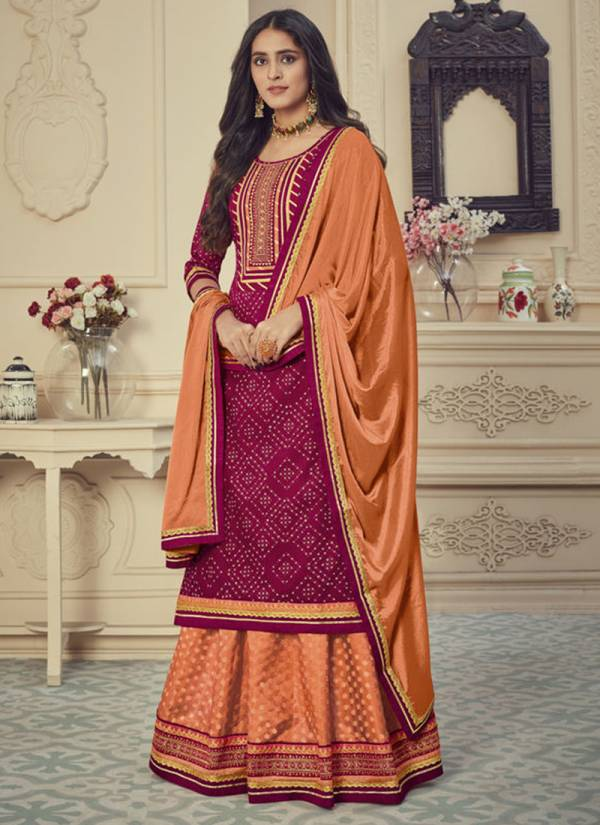 Rangoon Red Cherry Series 2701-2703 Jam Silk Printed With Stylish Look Embroidery Work Latest Designer Readymade Lehenga Suits Collection