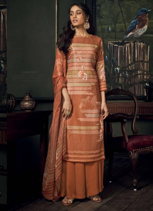 Belliza Bella Series 622-001-622-010 Pure Pashmina Original Digital Print Heavy Fancy Aari Embroidery Work Office Wear Suits Collection