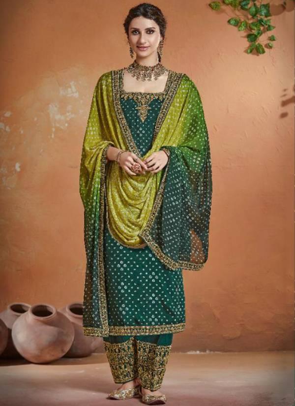 Kimora Bandhani Series 8401-8408 Pure Chinnon With Digital Bandhani Printed Festival Wear Latest Designer Palazzo Suits Collection
