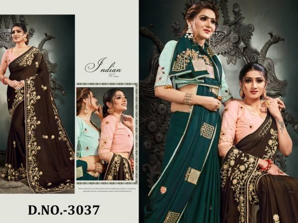 Nari Fashion Shaily Pure Satin Two Tone Gota Patti With Resham Embroidery Work Sarees Collection