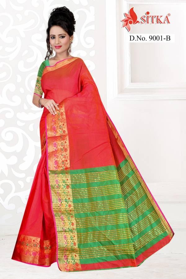 Sitka Nidhi 9001 Poly Cotton Silk Regular Wear Sarees Collection