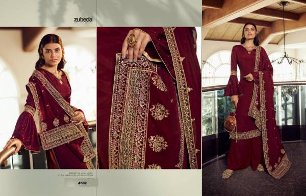 Zubeda Avani Chinnon With Embroidery Work Trending Look Designer Palazzo Suits Collection