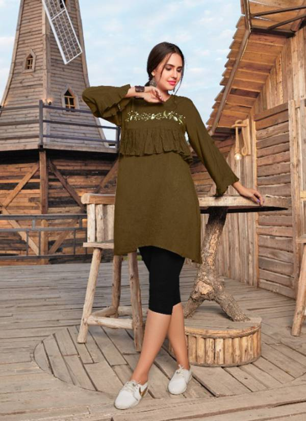 Bowled Multiple Rayon Based Readymade Short Fancy Top Collection