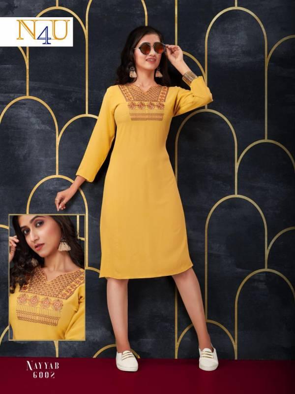 Neha Fashion Nayyab Series 6001-6007 New Designer Rayon With Fancy Embroidery Work Stylish Look Kurti Collection