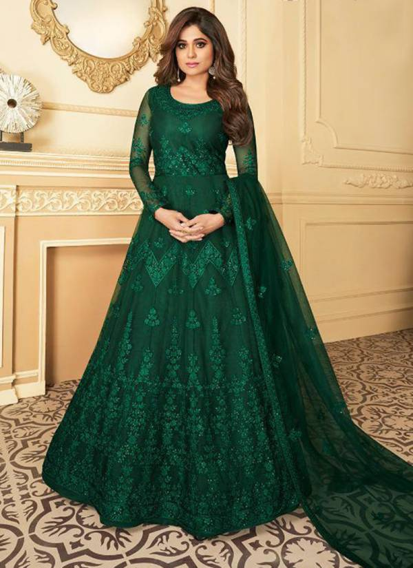 Aashirwad Peacock Series 7172-7177 Butterfly Net With Embroidery Work WIth Satin Silk Anarkali Festival Wear Suits Collection