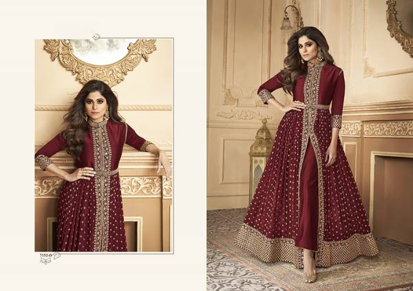 An Bazaar Aashirwad Series 7152-7152D Heavy Real Georgette With Codding Sequence Embroidery &Daimond Work Wedding Wear Anarkali Suits Collection