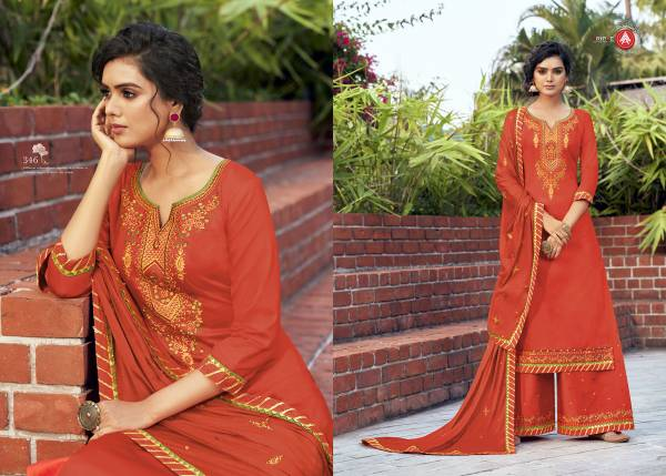 Triple AAA Kesar Vol 5 Jam Silk Cotton With Fancy Work Palazzo Suits Collection
