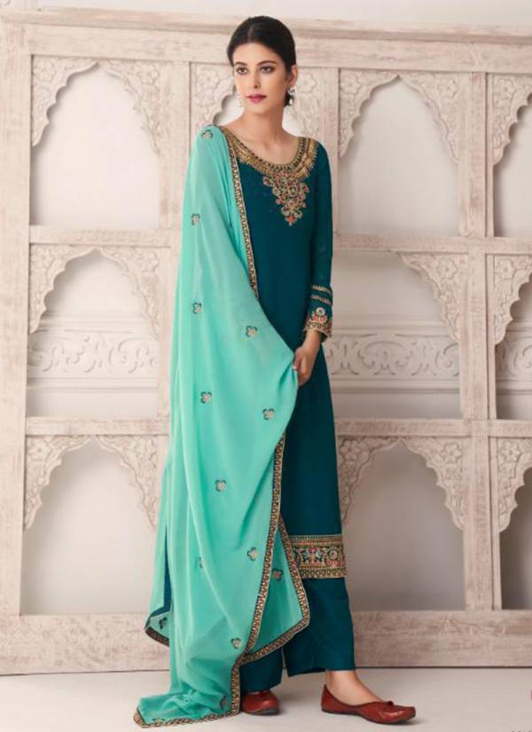 Aashirwad Maria Real Georgette Dull Santoon With Heavy Embroidery Work Eid Special Wear Plazzo Salwar Suit Collections