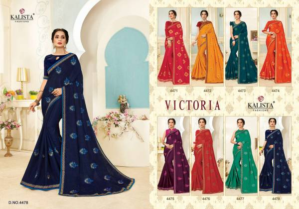 Kalista Fashion Victoria Vichitra Silk With Printed Embroidery Work Sarees Collection