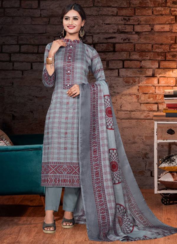 Bipson Lajoo Series 1245A-1245D Glace Cotton Fancy Printed With Work Straight Suits Collection