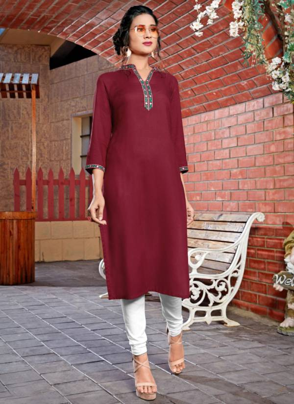 Syasii Maryam Series 113-118 Heavy Rayon Straight Cut With Embroidery Work Kurtis Collection