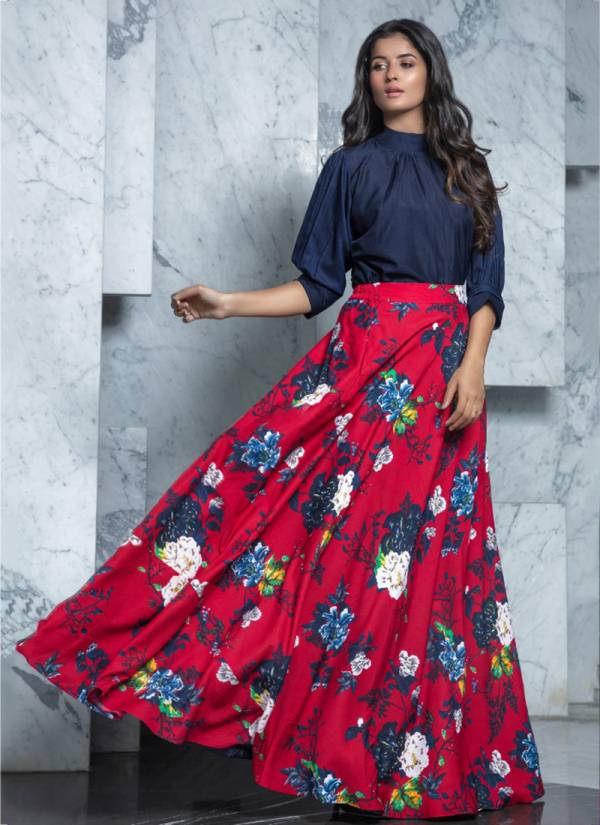 Khushboo Frill & Flare Vol 1 Series 1401-1410 Rayon Cotton Top And Crepe Skirt Trendy Look Top Skirt Collection