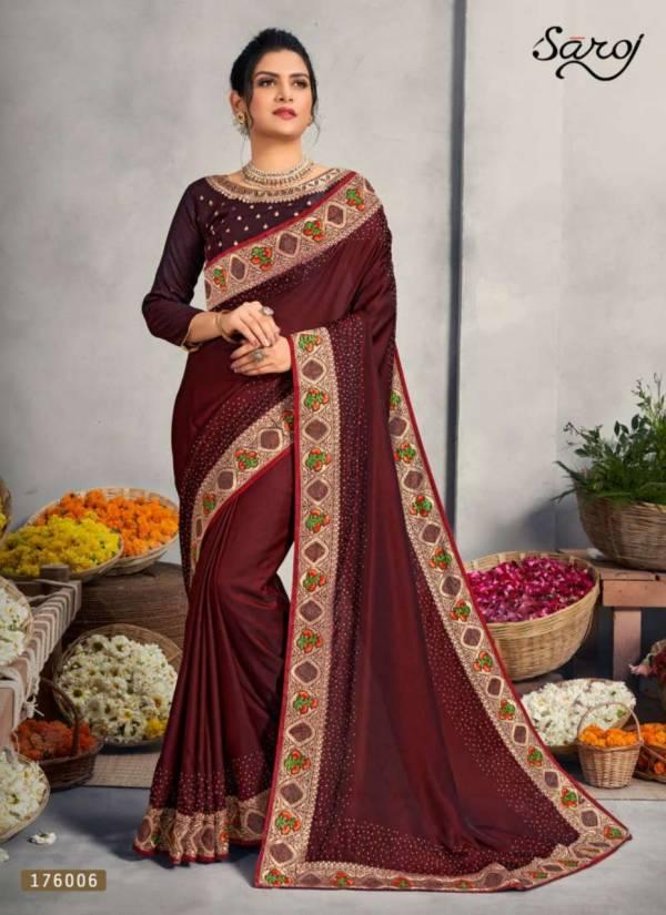 Saroj Miracle Heavy Satin Rangoli Silk With Border Work Sarees Collection
