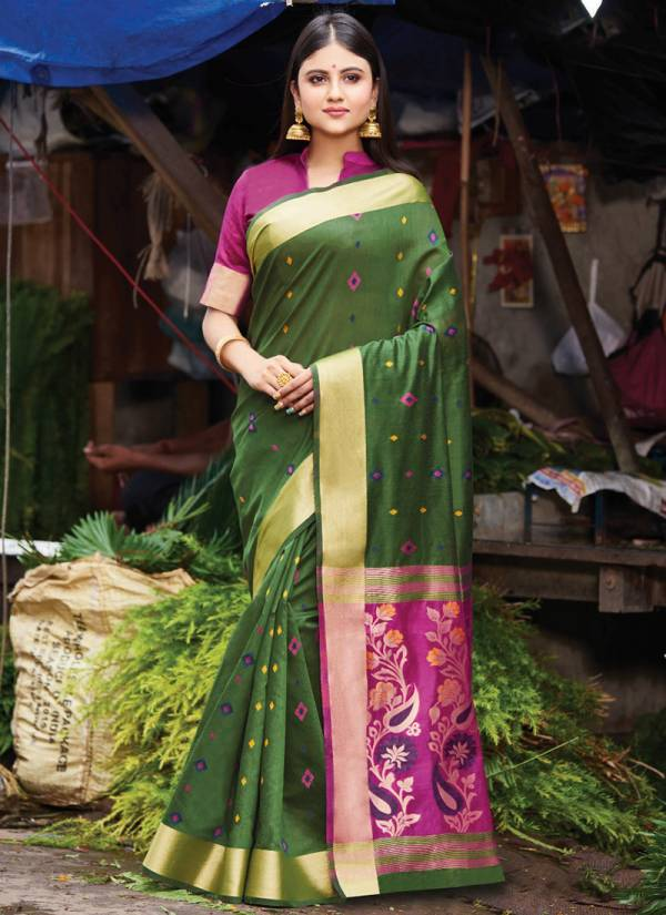 Sangam Prints Aaradhya Handloom Cotton Fancy Wedding Designer Sarees  Collection