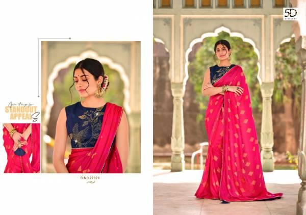 5D Designer Amoli Jequard Fancy Wedding Wear Designer Sarees Collection