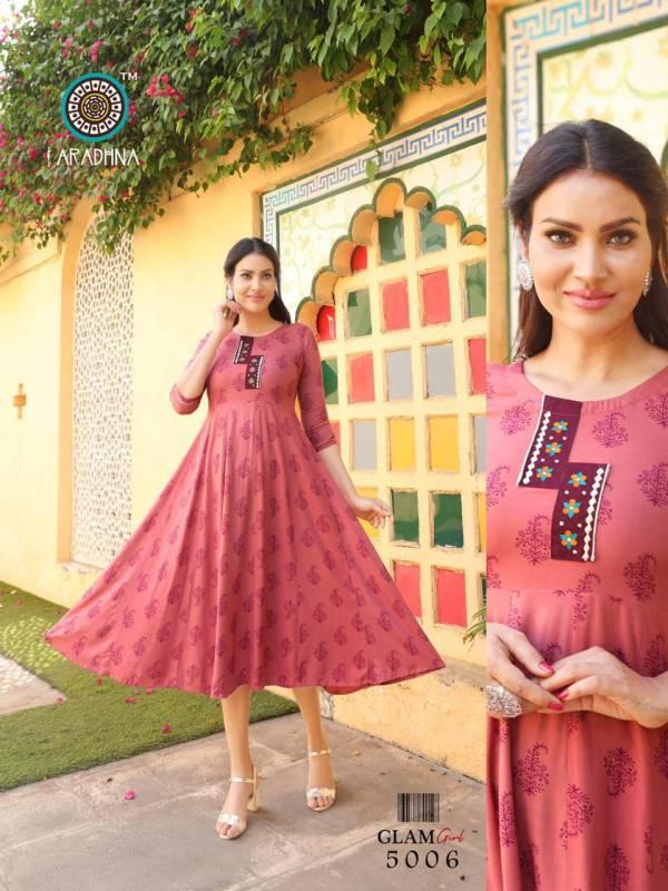 Aradhna Fashion Glam Girl Vol 4 Heavy Rayon With Fancy Digital Printed Work Party Wear Designer Kurti Collection