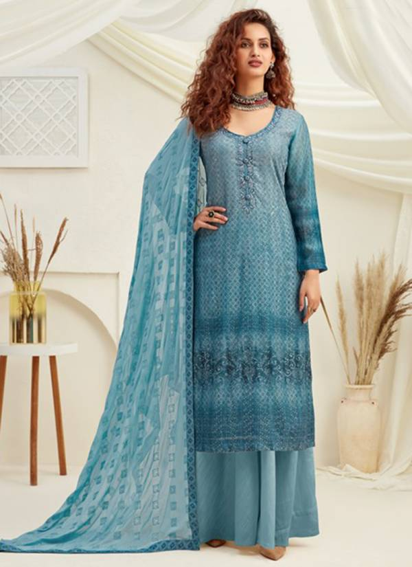 Hotlady Samreen Pure Viscose Chinnon Digital Print Eith Sequence Work Palazzo Suits Collection