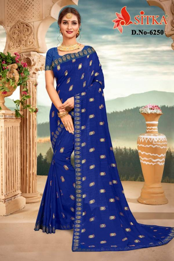 Kodas Siyaa Series 6244-6251 Vichitra Silk Fancy Foil Print With Full Border Festival Wear Sarees Collection