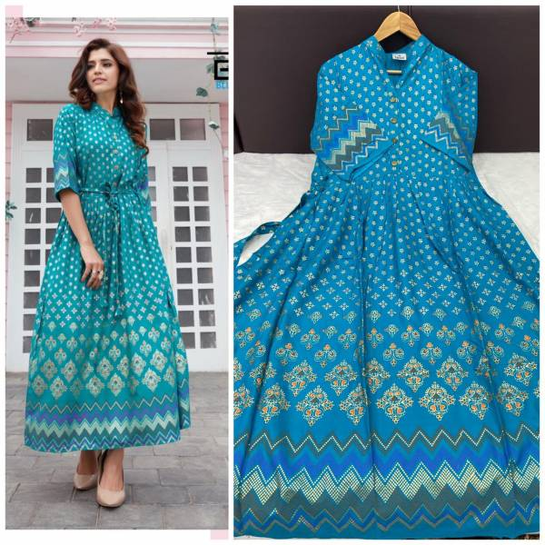 Glam Elegance Royal Series 3081-3084 Rayon With Heavy Foil Printed Long Gown Style Daily Wear Kurti Collection