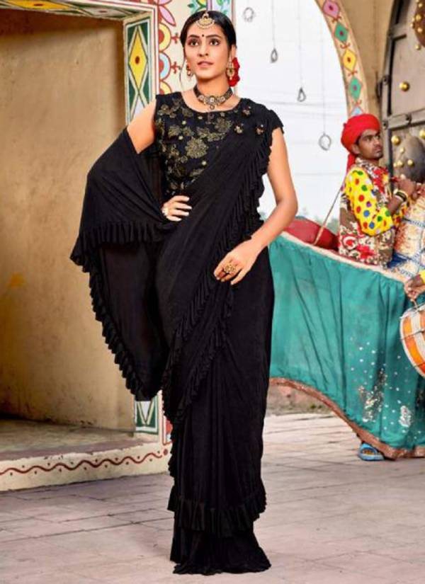 Kalista Fashion Omega Vol 2 Series 4441-4446 Latest Designer Fancy Imported Fabric Ready To Wear Ruffle Stylish Look Party Wear Sarees Collection